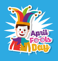 joker with mask funny april fools day vector image