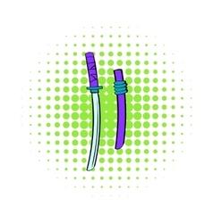 Katana icon in comics style vector image