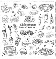 Kids menu doodle icons vector