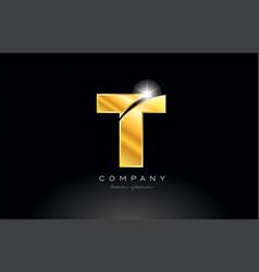 Letter t gold golden alphabet metal logo icon vector