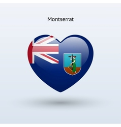 Love Montserrat symbol Heart flag icon vector