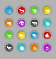 Mammals colored plastic round buttons icon set vector
