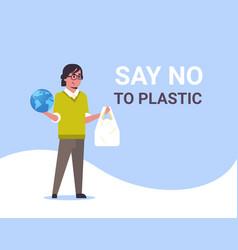 Man holding planet and polythene bag say no vector
