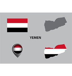 Map of Yemen and symbol vector image
