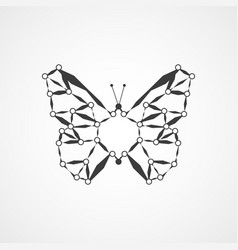 molecular structure in the form of butterfly vector image