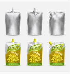 mustard package mockup set realistic vector image