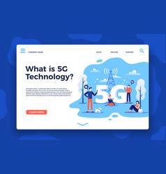 Network 5g landing page fast internet wireless vector