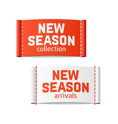 New season arrivals and collection labels vector