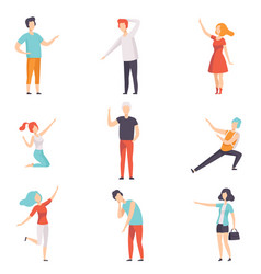 People pointing their finger in different vector