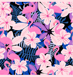 Pink leaves and flamingo pattern vector