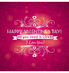 pink valentines day greeting card with hearts vector image