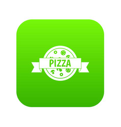 pizza label with ribbon icon digital green vector image