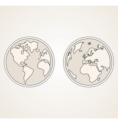 Planet Earth both globes retro sepia vector image