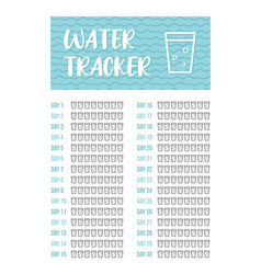 Printable a4 30 days water tracker vector