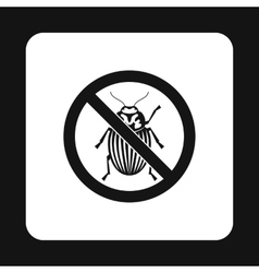 Prohibition sign colorado beetles icon vector image