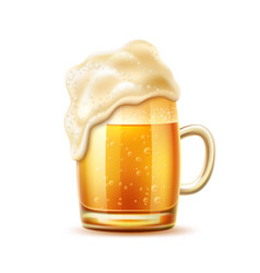 Realistic beer glass mug lager ale vector