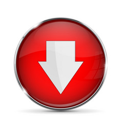 Red down button with white arrow shiny 3d icon vector