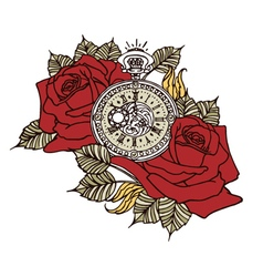 Rose Clock Retro vector image