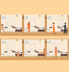 Rows of prison cells with life of women in jail vector