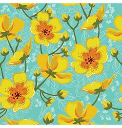 Seamless floral pattern hand-drawing vector image