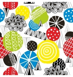 Seamless pattern with hand drawn bright design vector image