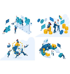 set isometric concepts global investment vector image