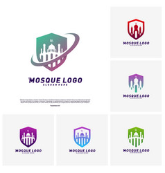 Set mosque with shield logo design vector