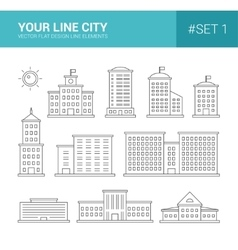 Set of line flat design buildings icons vector