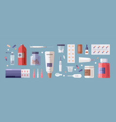 Set of medical tools and medicines isolated on vector