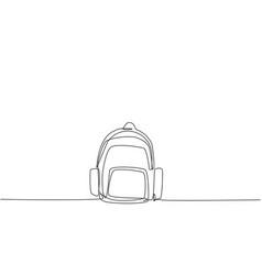 Single one line drawing school bag vector