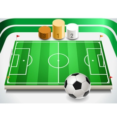 Soccer Field with Soccer Ball and Podium vector