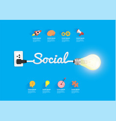 social concept with creative light bulb idea vector image
