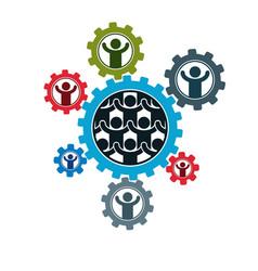 Society and person interaction creative logo vector