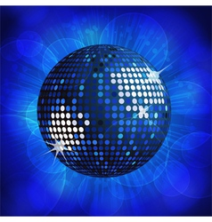 sparkling blue disco ball on a blue starburst back vector image vector image