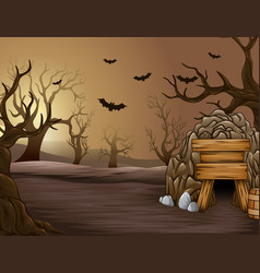 Spooky forest of halloween at afternoon vector