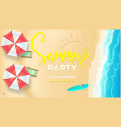summer party on seascape seashore with sandy beach vector image