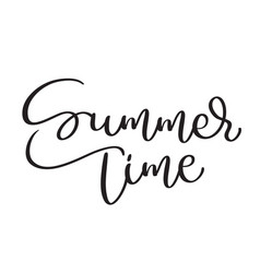 summer time text on white background hand drawn vector image vector image