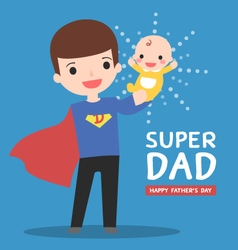 Super-dad-with-baby vector