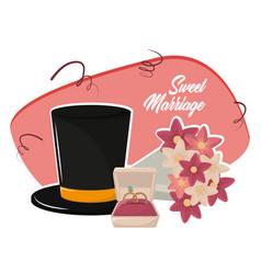 Sweet marriage cartoon vector