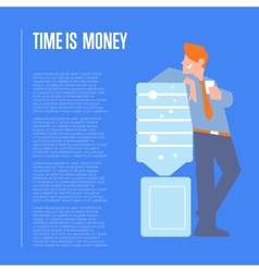 Time is money banner with businessman vector image