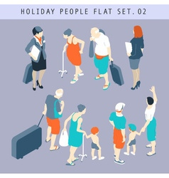 Tourist People 3D Flat Isometric Set 02 vector