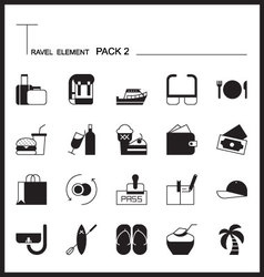 Travel Element Line Icon Set 2Beach and Sea vector