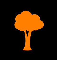 tree sign orange icon on black vector image