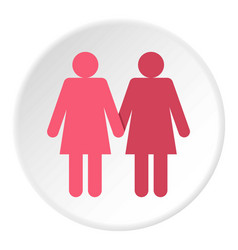 Two girls lesbians icon circle vector