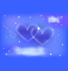 two heart night sky vector image
