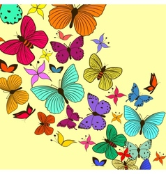 Vintage card with butterflies vector