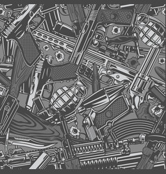 vintage military weapons seamless pattern vector image