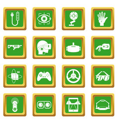Virtual reality icons set green vector