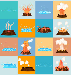 Volcano eruption and water discharge by geyser vector