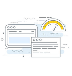 Web browser window with speedometer testing vector